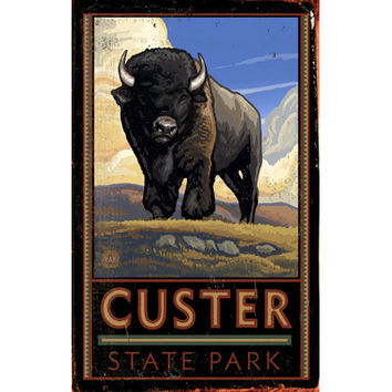 Personalized Custer State Park Wood Sign