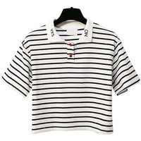 YES&NO STRIPED CROPPED POLO