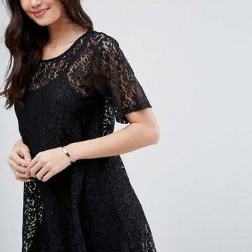 ASOS Mini Lace T-Shirt Dress at asos.com