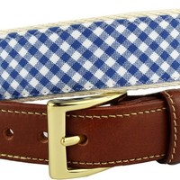 Gingham Leather Tab Belt in Royal Blue by Country Club Prep - FINAL SALE