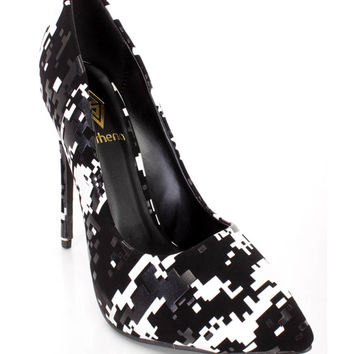 Black White Pixel Print Cute Single Soles High Heels Faux Leather