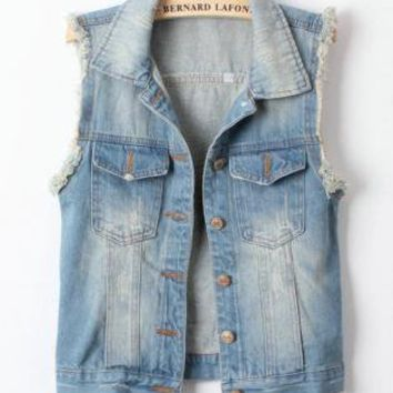 Cool West Street Style Denim Vest