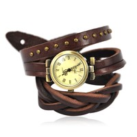 Ladies Women's Watch BADE Leather Wrap Around Bracelet Wrist Quartz Watch Brown