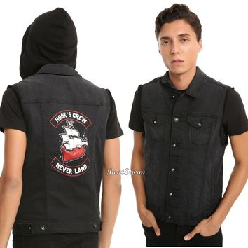 Licensed cool Disney Peter Pan Hook's Crew Neverland Hook Denim Vest w/ Removable Black Hood