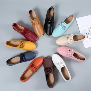 2018 Spring Oxford Shoes Women Flats Fashion Women Shoes Casual Lace Up Moccasins Loafers Ladies Shoes Zapatos Mujer Large Size