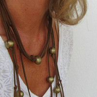 Statement Multistrand Necklace, Long Leather with Golden Beads, Modern Jewelry, Boho Fashion, Batchelorette Party gift, Team Bride