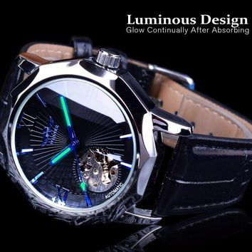 Blue Ocean Transparent Skeleton Dial Men's Luxury Automatic Mechanical Watch
