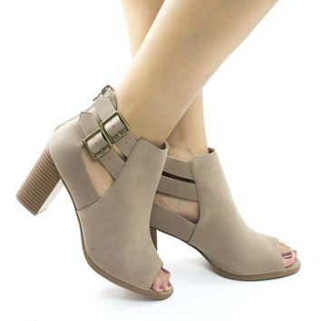 Wilma By Soda, Peep Toe Cut Out Ankle High Stacked Heel Booties