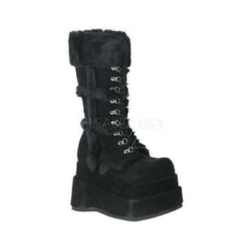 DEMONIA BEAR-202 Women's Punk Goth Furry Fuzzy Vegan Platform Gogo Boots Shoes