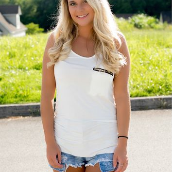 Lost In Love Pocket Tank - Ivory
