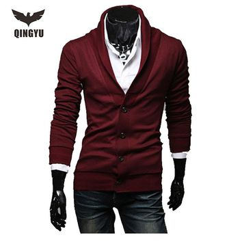 Mens Sweater Long Sleeve Cardigan Male Solid V-Neck Autumn Knitted Sweaters Men Casual Slim Fit Red Knitting Cardigan Men