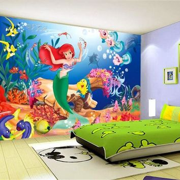 3d room wallpaper custom mural non-woven wall sticker mermaid princess fairy tale world painting photo 3d wall murals wallpaper