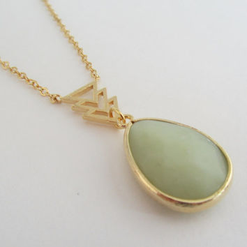 Amazonite Necklace- Green Stone Necklace, Pendant Necklace. Arrow Necklace. Light Green Pendant Necklace.
