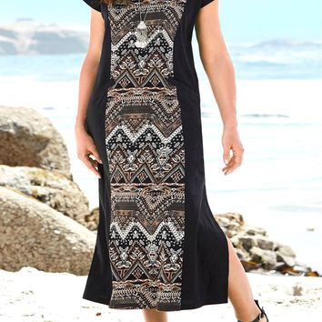 Kaysee Tribal Print Shift Dress