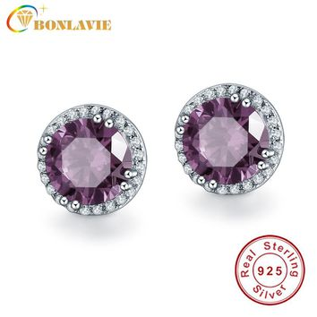 BONLAVIE Charm Silver Earrings Solid 925 Sterling Silver Earring Spessartine Garnet Real Pure Engagement Wedding Stud Earrings