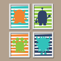 Monster Wall Art Nursery Canvas Artwork Child Boy Custom Colors Monogram Personalized Name Stripe Colorful Set of 4 Prints Bedroom Decor