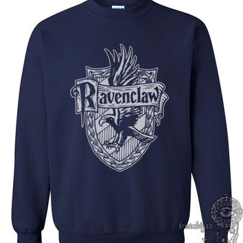 Ravenclaw Crest #2 One color printed on Navy Crew neck Sweatshirt