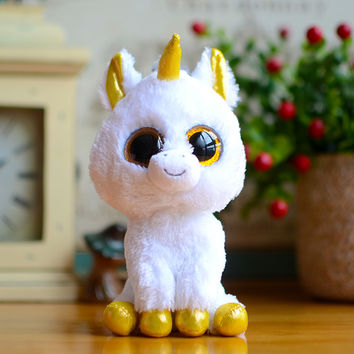 Ty Beanie Boos Kids Plush Toys Big Eyes White Unicorn Lovely Children Gifts Kawaii