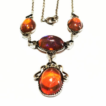 Victorian Sterling Silver Necklace, Festoon, Lavalier,Mexican Opal Stones, Filigree, 1900s