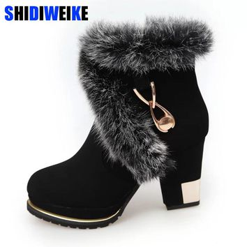 2018 New Winter Faux Fur Fashion High Heels Women Shoes Woman Boots Platform Warm Snow Luxury Femme Ladies Korean Black n243