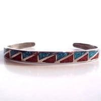 Vintage 1980's Sterling Silver, Turquoise/Red Coral Inlay Cuff Bracelet
