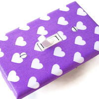 PURPLE HEARTS Switchplate Light Switch Plate Outlet Cover Nursery Decor