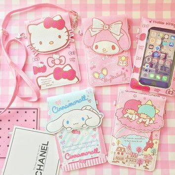 new style cartoon Hello Kitty My Melody Big Ears Cinnamoroll dog touch screen phone bag  Zero wallet for girl gift  18CM*12CM