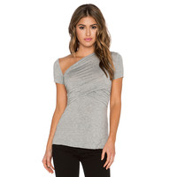 Soulder Oblique Short Sleeve Bodycon Top