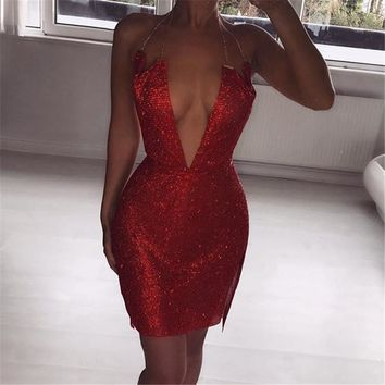 Sleeveless Hot Sale Club Sexy One Piece Dress [471485186089]