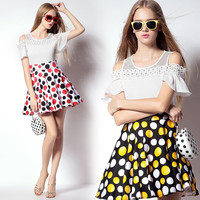 Off Shoulder Cut-out Polka Dot Skirt Dress