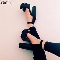 2017 vogue Ankle Strap Chunky Heel Buckle Strap Black Suede Sandals High Platform Shoes Female Thick Heel Platform High Heels