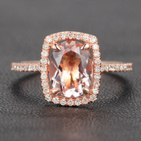 Oval Morganite Engagement Ring Cushion Diamond Halo 14K Rose Gold 7x9mm