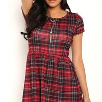 Plaid Skater Dress with Cap Sleeves