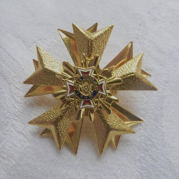 Vintage Maltese Cross Pin, Heraldic Brooch, VFW Ladies Auxiliary Pin Vintage VFW Jewelry World War ll Jewelry