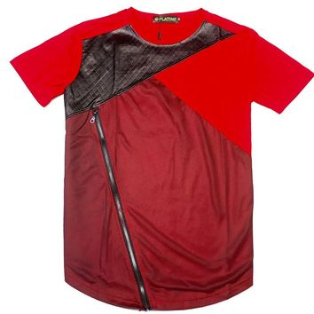 Platini Red Quilted Short Sleeve T-Shirt