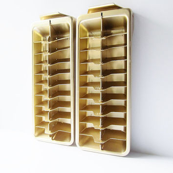 Frigidaire Gold Aluminum Ice Cube Trays - Mid Century 1950s 1960s - Vintage Freezer Accessory - Manual Ice Cube Maker -  Metal Compartment