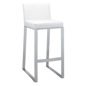 ATHENA BAR STOOL - WHITE LEATHER
