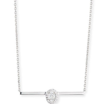 Messika GlamAzone Oval Diamond Bar Necklace in 18K White Gold