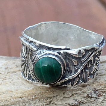 Boho Ring - Malachite Ring - Wide Band Ring - Silver Ring - Green Ring - Size 6