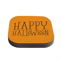 "KESS Original ""Happy Halloween - Orange"" Coasters (Set of 4)"
