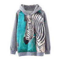 Zebra Soft Women's Pullover Hoodies Sweatshirt