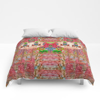 lady panda in the enchanted forest with magic flowers Comforters by Pepita Selles