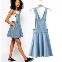 Stylish Umbrella Dress Women's Fashion Skirt Denim One Piece Dress [5013227652]