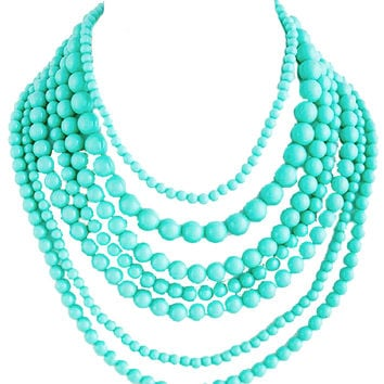 Turquoise Layered Bead Necklace