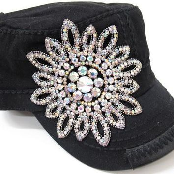 Black Cadet Hat with Bling Flower
