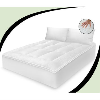 Queen Size 100-Percent Cotton Feather Bed Mattress Topper with 2 Pillows