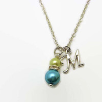 Glass Pearl Necklace Mother Daughter Necklace Letter Necklacel Necklace Faux Pearl Necklace Birthstone Necklace Birthstone Jewelry