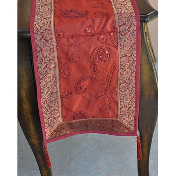 """Deep Red Luxury Silk Table Runner with Embroidery and Brocade Gold Border 60"""" x 12"""""""