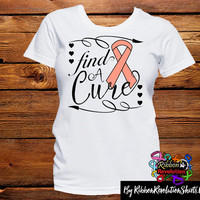 Peach Ribbon Find A Cure Shirts (Uterine Cancer and Endometrial Cancer)