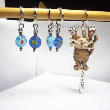 Cute Hang in There, brown Cat, knitting stitch marker tool, kitty, tool snagless id1370730 stitchmarker ift idea snag free yarn pattern aide